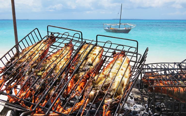 Pungume sandbank seafood BBQ